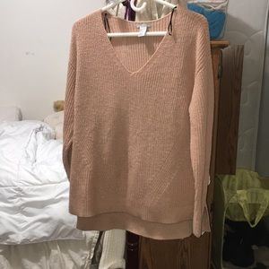 Oatmeal - peach - nude - tan knit V neck sweater